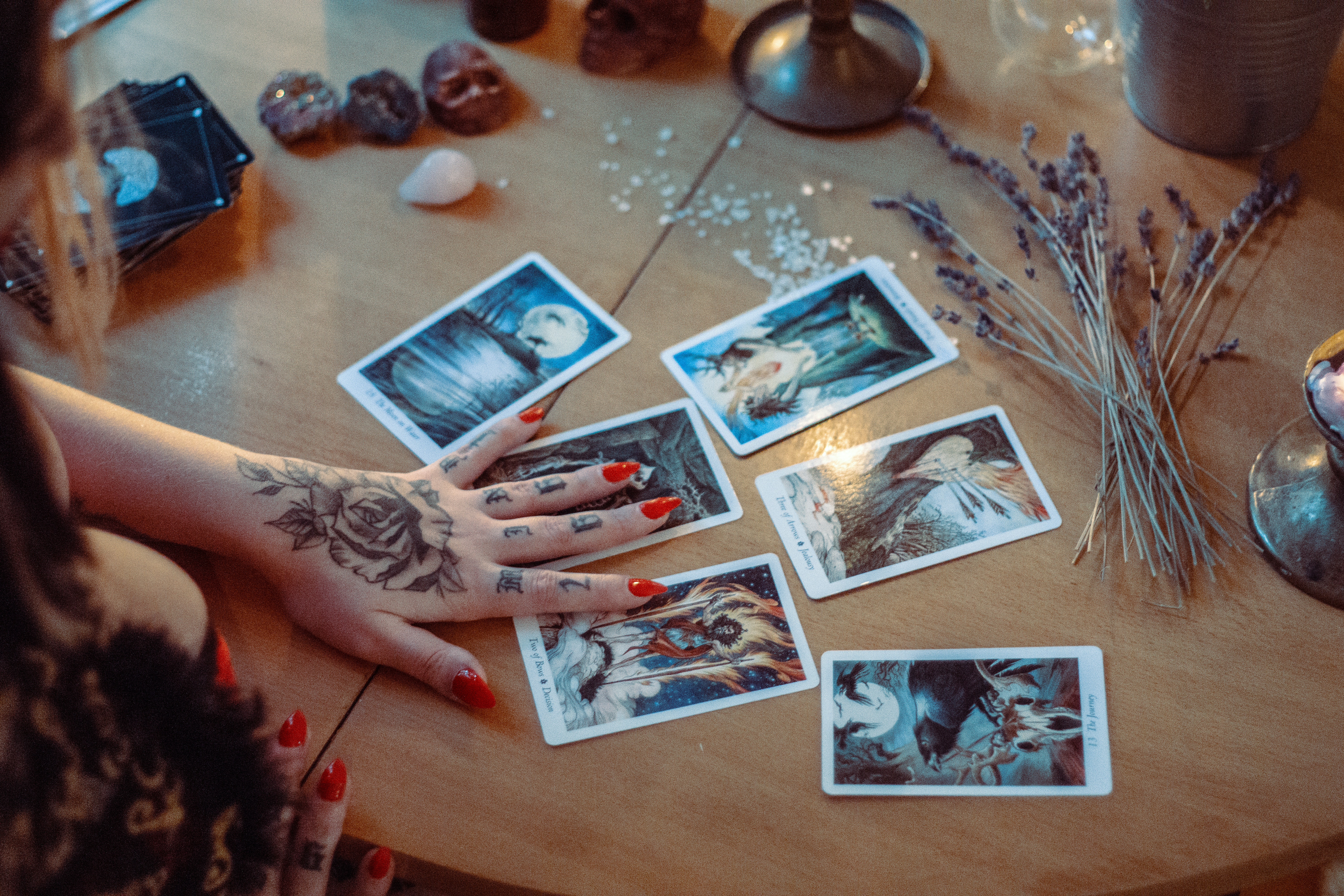 Assorted Tarot Cards on a table